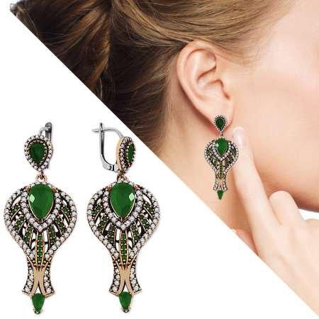 Zirkon ve Yeşil Ruby Taşlı 925 Ayar Gümüş Otantik Küpe - Thumbnail