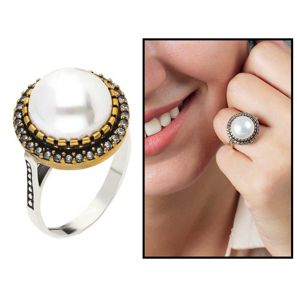خاتم فضة عيار 925 عتيق بفصوص زركون بيضاء نسائية