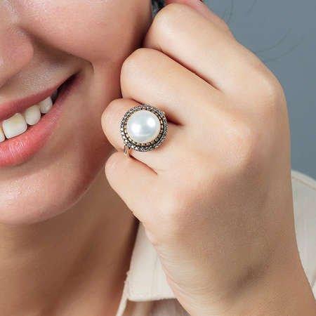 925 Ayar Gümüş Beyaz Zirkon Taşlı Otantik Bayan Yüzük - Thumbnail