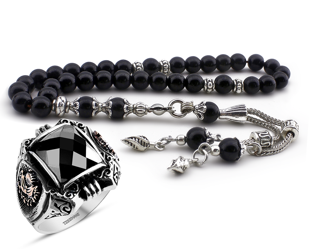 Gümüş Zirkon Taşlı Payitaht Yüzüğü ve Oniks Doğaltaş Tesbih Kombini