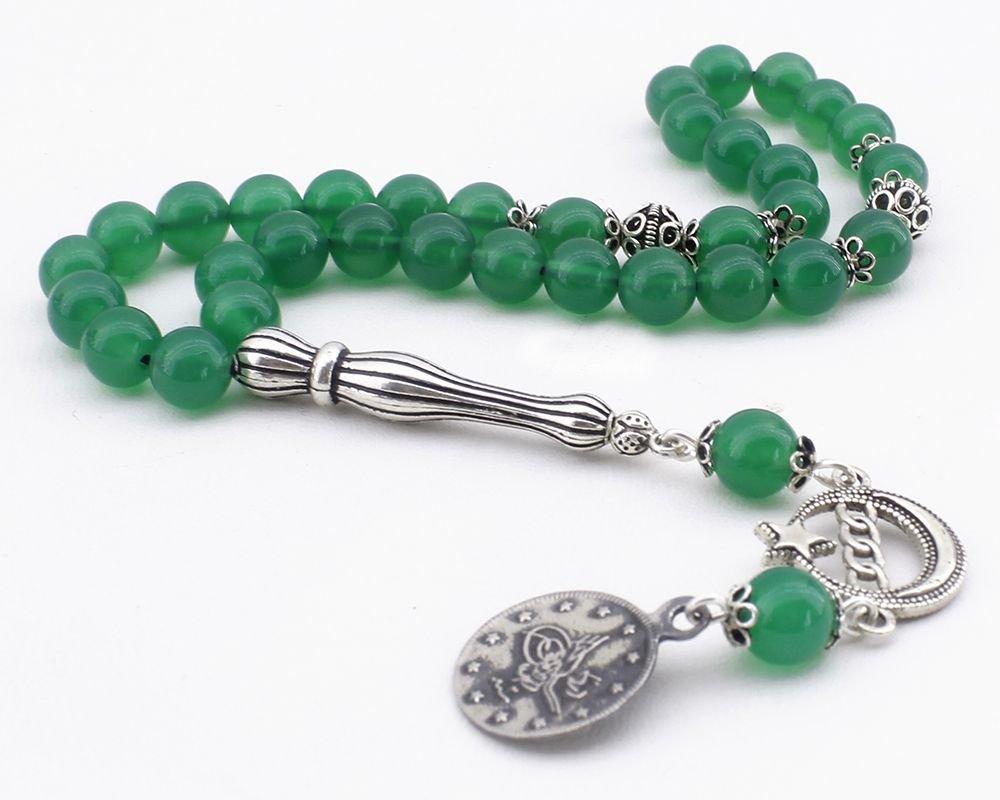 925 Ayar Gümüş Tuğra ve Ayyıldız Püsküllü Küre Kesim Yeşil Akik Tesbih