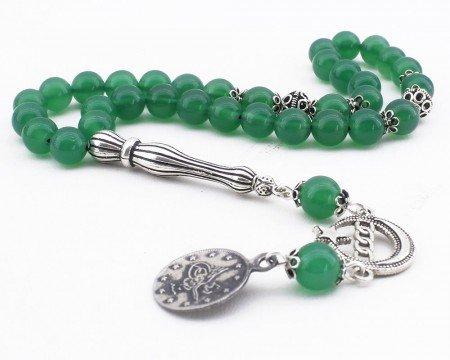 925 Ayar Gümüş Tuğra ve Ayyıldız Püsküllü Küre Kesim Yeşil Akik Tesbih - Thumbnail