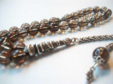 Gümüşlü Dumanlı Kuvars Doğaltaş Tesbih (IB9HD8RS) - Thumbnail