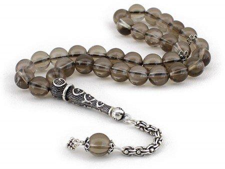 925 Ayar Gümüş Arnavut Püsküllü Küre Kesim Kuvars Doğaltaş Tesbih - Thumbnail