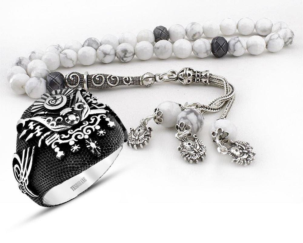 Gümüşlü Havlit Doğaltaş Tesbih ve Gümüş Devlet Armalı Yüzük Kombini