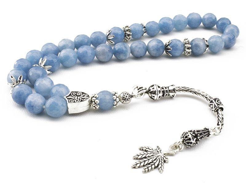 Gümüşlü Mavi Kuvars Fasetalı Kesim Tesbih (ZNXDKJN)