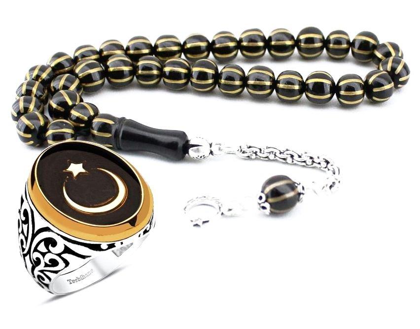 Gümüşlü Oltu Tesbih ve Oniks Taşlı Yüzük Kombini