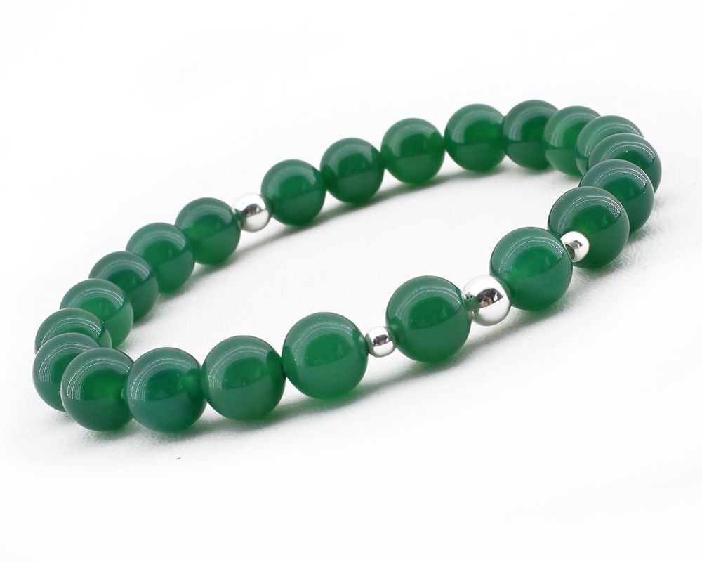 925 Ayar Gümüş Kombinli Küre Kesim Yeşil Akik Doğaltaş Bayan Bileklik