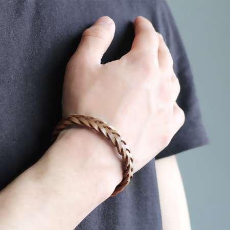 Hasır Tasarım Açık Kahverengi Deri-Çelik Kombinli Erkek Bileklik - Thumbnail