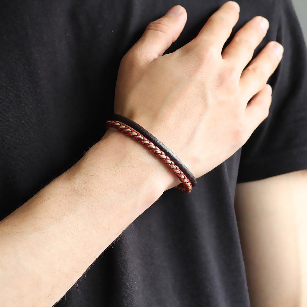 Hasır Tasarım Çift Sıra Sarı-Kırmızı Deri-Çelik Kombinli Erkek Bileklik