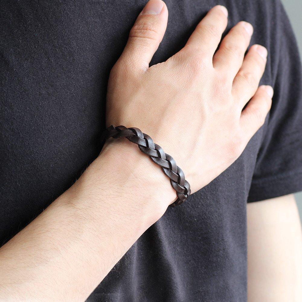 Hasır Tasarım Koyu Kahverengi Deri-Çelik Kombinli Erkek Bileklik