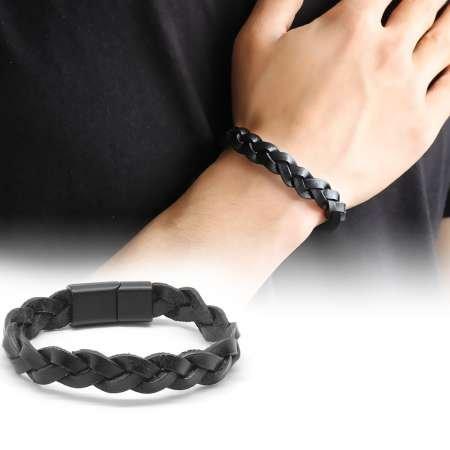 Hasır Tasarım Siyah Deri-Çelik Kombinli Erkek Bileklik - Thumbnail