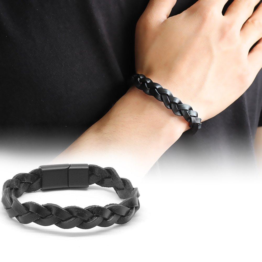 Hasır Tasarım Siyah Deri-Çelik Kombinli Erkek Bileklik