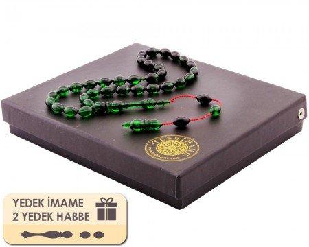 Yedek İmame ve Habbeli Usta İşi Arpa Kesim Yeşil Sıkma Kehribar Tesbih - Thumbnail