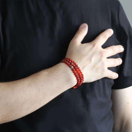 Hem Bileklik - Hem Küre Kesim 99'lu Kırmızı Akik Doğaltaş Tesbih - Thumbnail