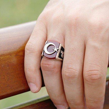 Tuğra İşlemeli Ayyıldız Motifli Akik Taşlı 925 Ayar Gümüş Hilal Yüzüğü - Thumbnail
