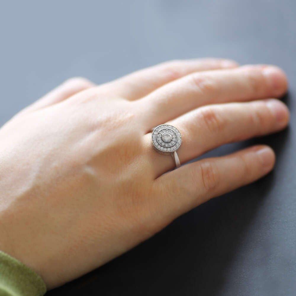 İç İçe Sıralı Mikro Zirkon Taşlı Yuvarlak Tasarım 925 Ayar Gümüş Bayan Yüzük