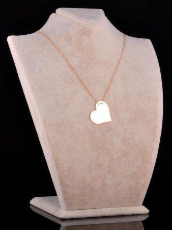 İki İsimli Plaka Kalp Kolye (Parlak) - Thumbnail