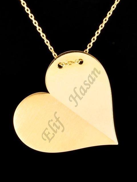 İki İsimli Plaka Kalp Kolye (Sarı)