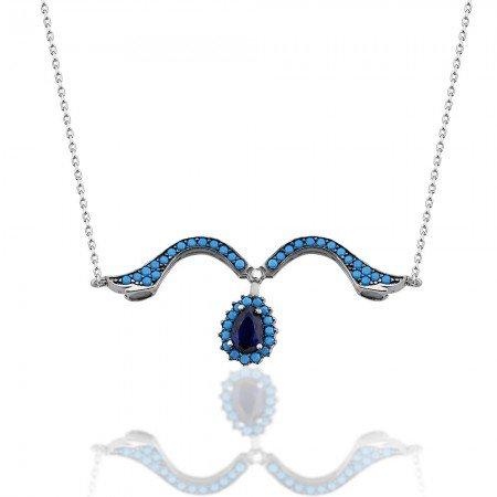 İki Kullanımlı 925 Ayar Gümüş Turkuaz Mavi Zirkon Taşlı Lale Kolye - Thumbnail