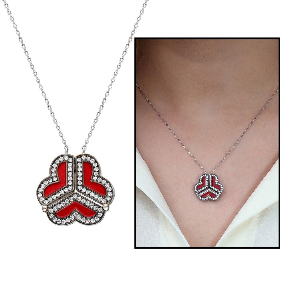 Zirkon Taşlı Kırmızı Mineli İki Kullanımlı Üç Kalp 925 Ayar Gümüş Bayan Kolye