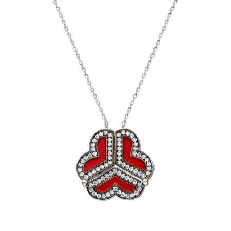 Zirkon Taşlı Kırmızı Mineli İki Kullanımlı Üç Kalp 925 Ayar Gümüş Bayan Kolye - Thumbnail