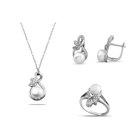 İnci-Zirkon Taşlı Sonsuzluk Tasarım Çiçek Detaylı 925 Ayar Gümüş 3'lü Takı Seti - Thumbnail