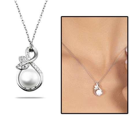 İnci-Zirkon Taşlı Sonsuzluk Tasarım Çiçek Detaylı 925 Ayar Gümüş Kadın Kolye - Thumbnail