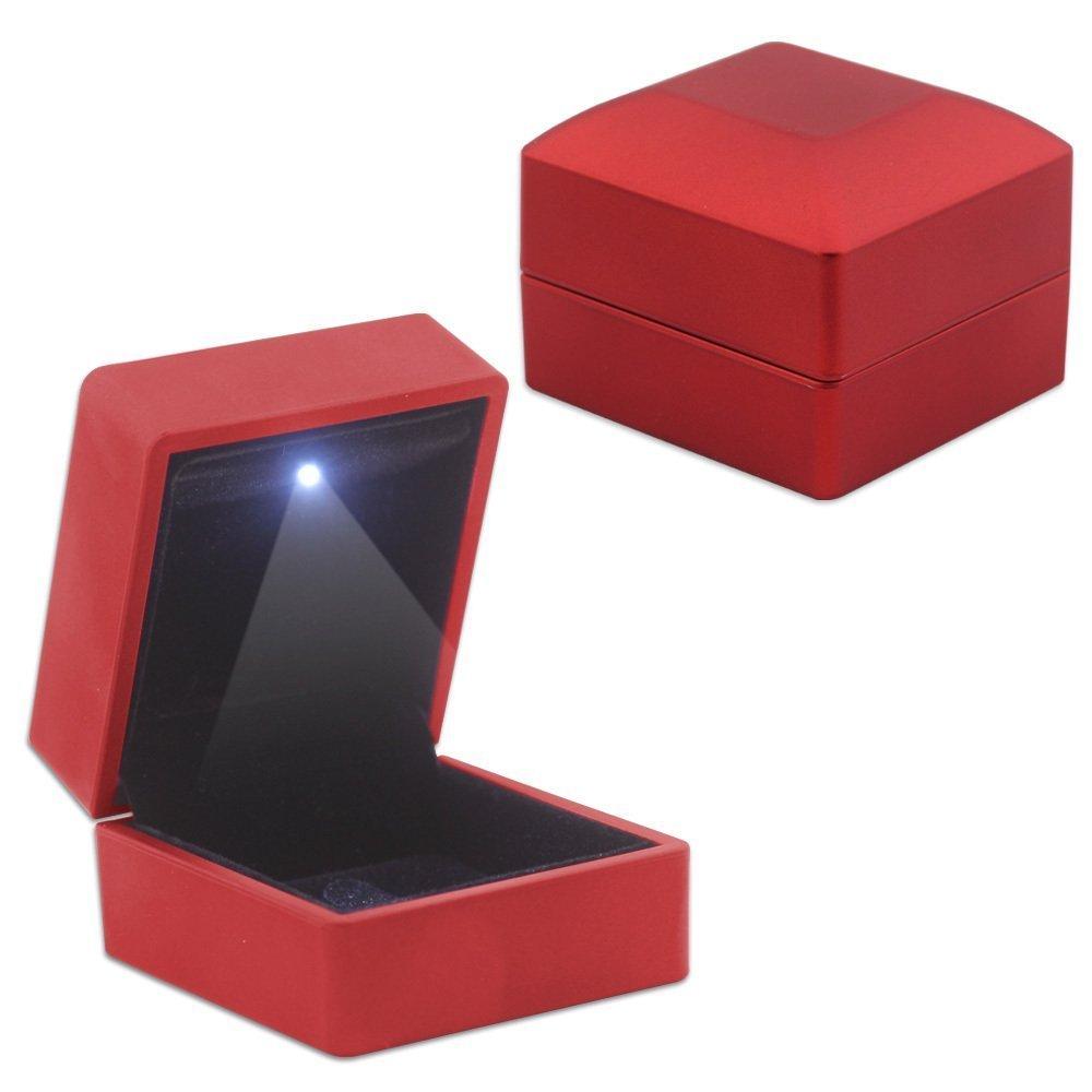 Işıklı Kırmızı Renk Yüzük/Alyans Kutusu