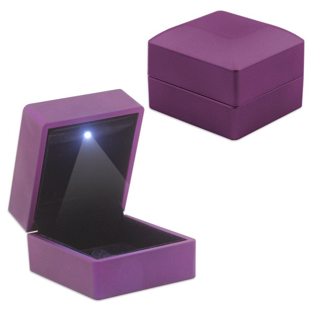 Işıklı Mor Renk Yüzük/Alyans Kutusu