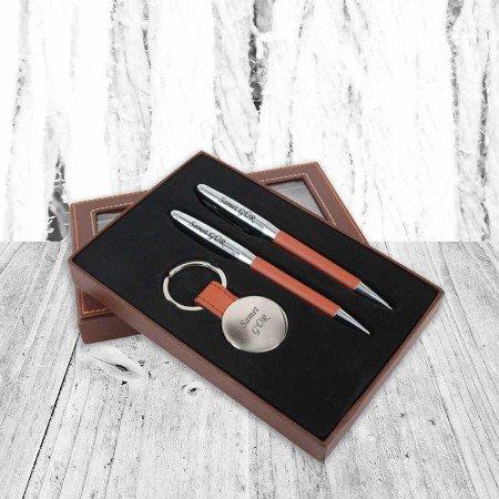 İsme özel ikili Kalem ve Anahtarlık Seti Taba - Thumbnail
