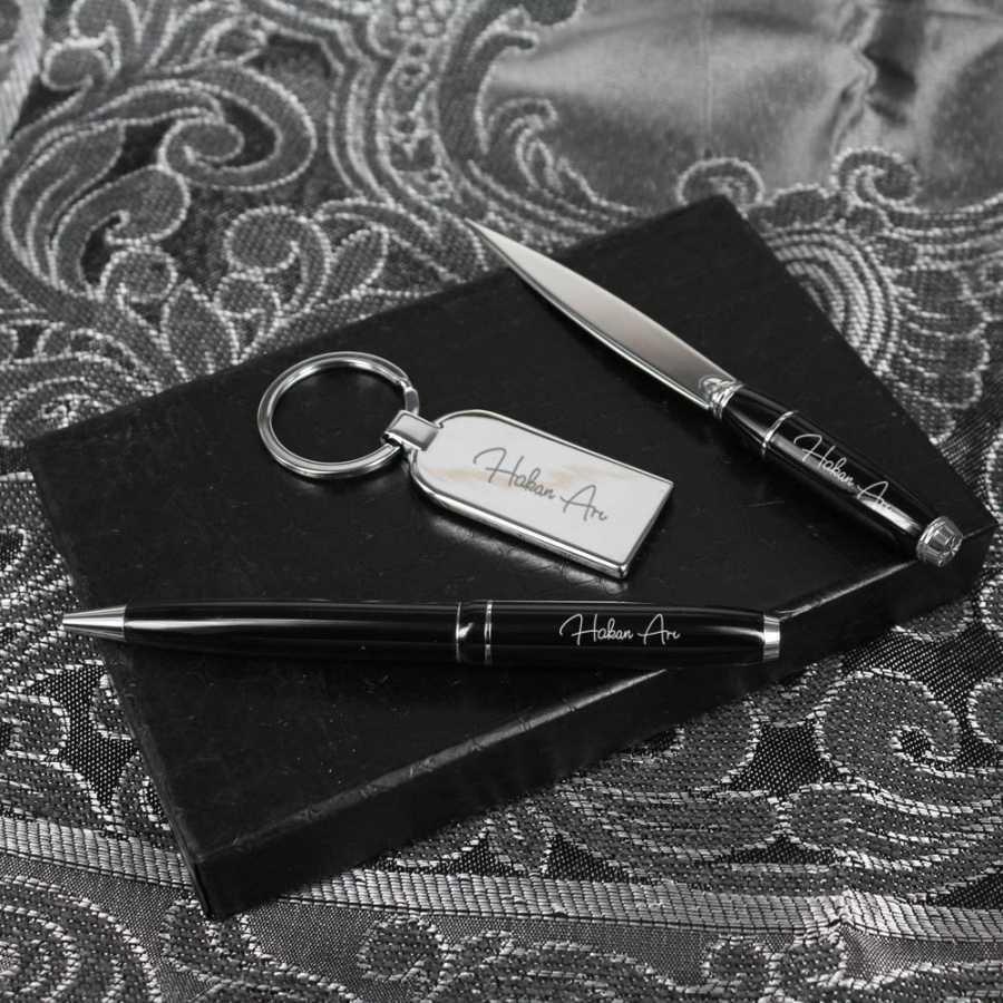 İsme Özel Kalem Anahtarlık Zarf Açacağı Seti Siyah