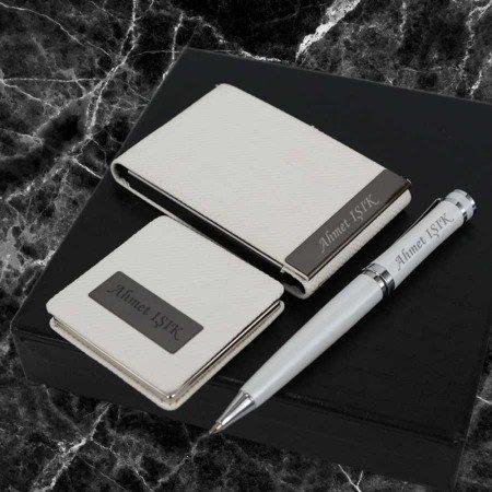 İsme Özel Kalem Kartvizitlik Ayna Seti Beyaz - Thumbnail