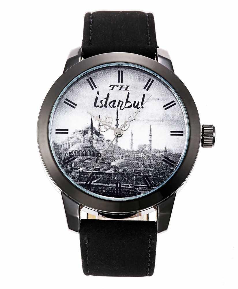 İstanbul Temalı Özel Tasarım Siyah TH Kol Saati (M-2)