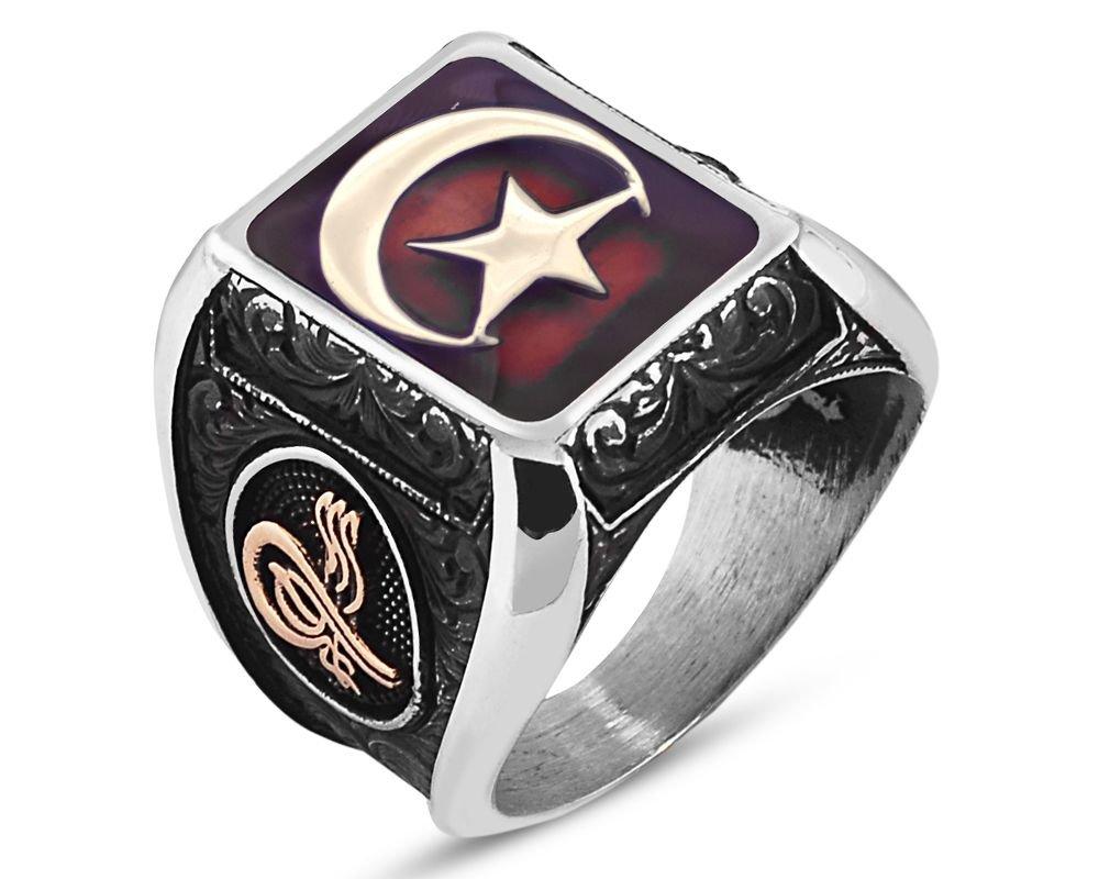İstiklal Yüzüğü-925 Ayar Gümüş Kırmızı Mineli Ay Yıldız Yüzük