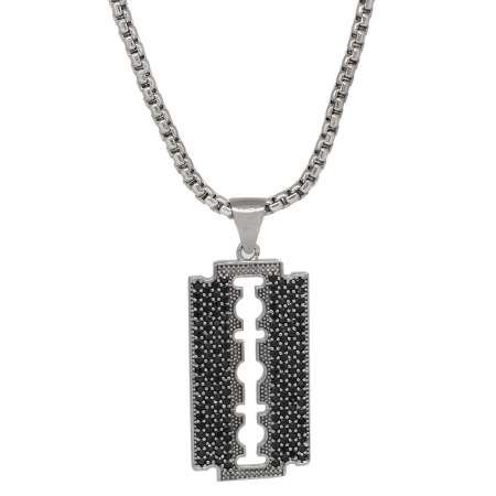 Jilet Tasarım Siyah Zirkon Taşlı Gümüş Renk Zincir Pirinç Kolye - Thumbnail