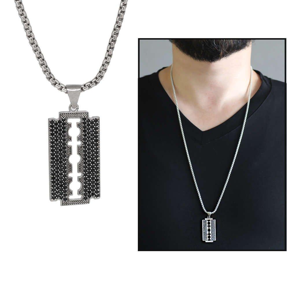 Jilet Tasarım Siyah Zirkon Taşlı Gümüş Renk Zincir Pirinç Kolye