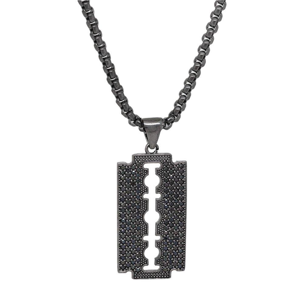 Jilet Tasarım Siyah Zirkon Taşlı Siyah Renk Zincir Pirinç Kolye