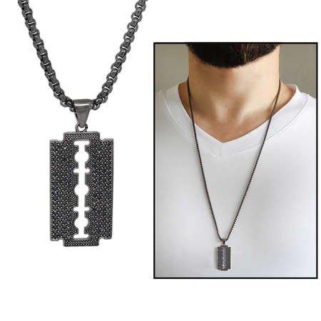 Jilet Tasarım Siyah Zirkon Taşlı Siyah Renk Zincir Pirinç Kolye - Thumbnail