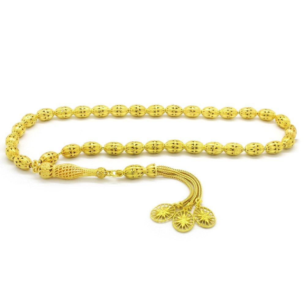 Kafes Tasarım Gold Renk Arpa Kesim 925 Ayar Gümüş Tesbih (M-2)