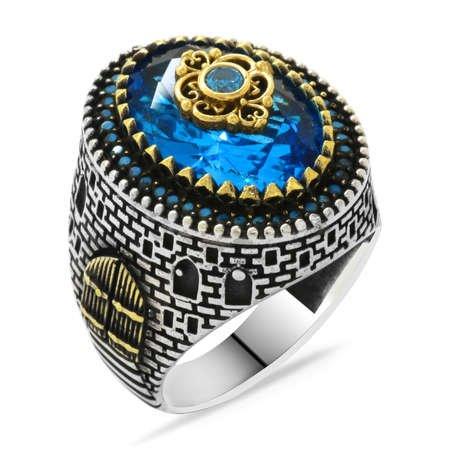 Kale Tasarım Faset Kesim Aqua Mavi Zirkon Taşlı 925 Ayar Gümüş Erkek Yüzük - Thumbnail