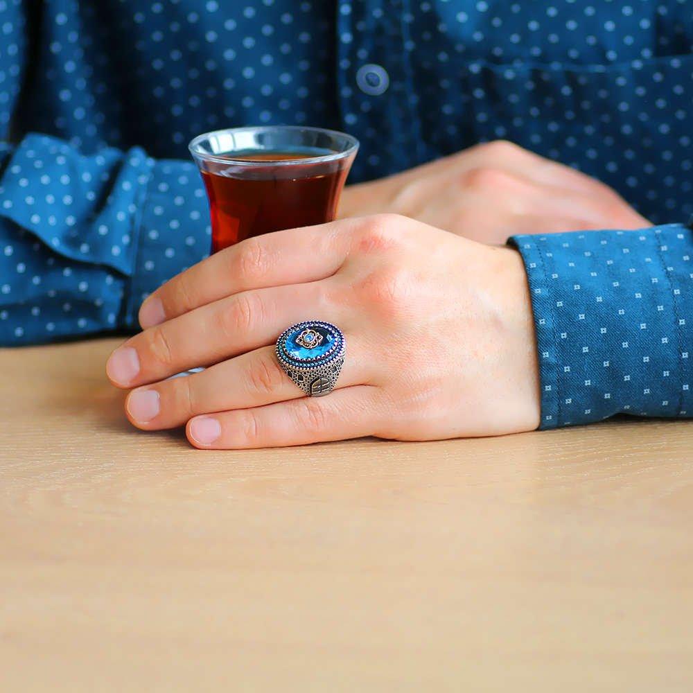 Kale Tasarım Faset Kesim Aqua Mavi Zirkon Taşlı 925 Ayar Gümüş Erkek Yüzük
