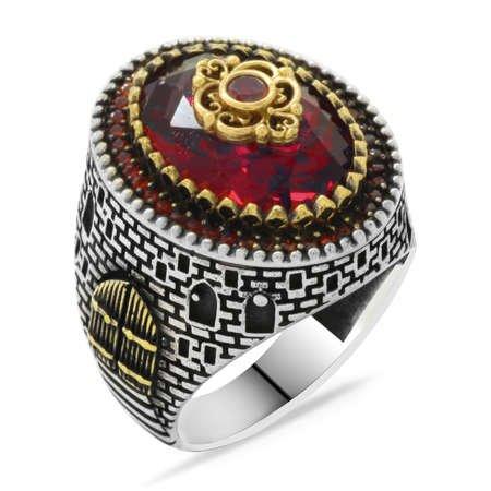 Kale Tasarım Faset Kesim Kırmızı Zirkon Taşlı 925 Ayar Gümüş Erkek Yüzük - Thumbnail