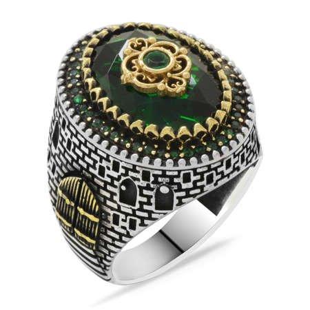 Kale Tasarım Faset Kesim Yeşil Zirkon Taşlı 925 Ayar Gümüş Erkek Yüzük - Thumbnail