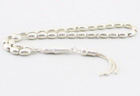 Kalem İşçilikli Arpa Kesim 925 Ayar Gümüş Tesbih (M-1) - Thumbnail