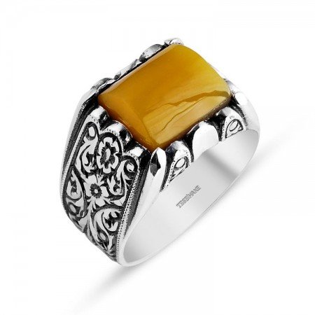 Kalem İşlemeli Erzurum El İşi Sıkma Kehribarlı Yüzük (model 8) - Thumbnail