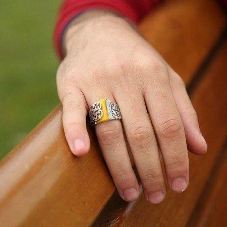 Kalem İşlemeli Erzurum El İşi Sıkma Kehribarlı Yüzük(model 7) - Thumbnail
