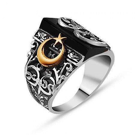 Kalemkar Erzurum İşçiliği Ay Yıldız Detaylı Oniks Taşlı Gümüş Yüzük - Thumbnail