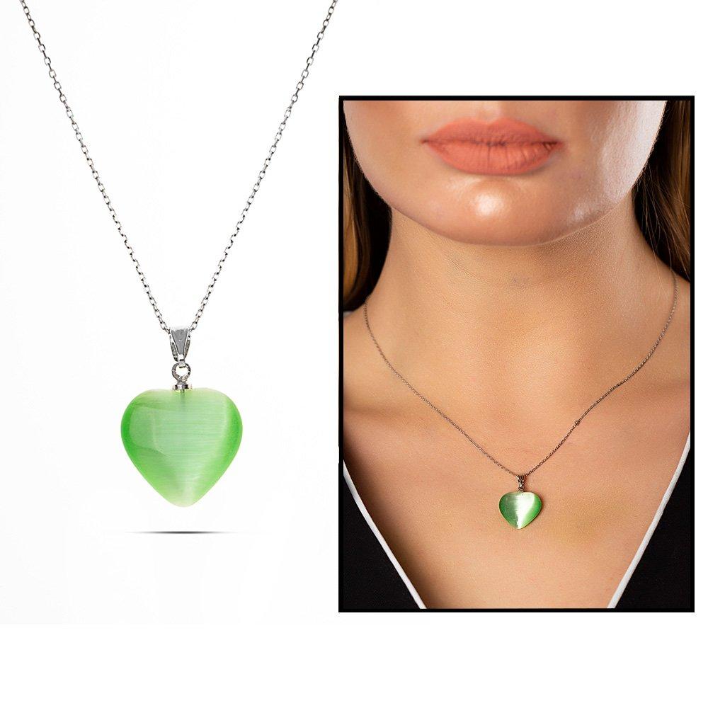Kalp Tasarım 925 Ayar Gümüş Zincirli Çift Taraflı Fıstık Yeşil Kedigözü Kolye