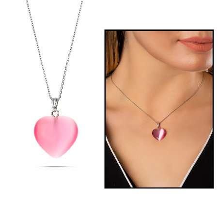 Kalp Tasarım 925 Ayar Gümüş Zincirli Çift Taraflı Fuşya Kedigözü Kolye - Thumbnail